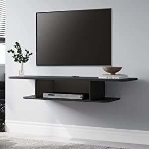 FITUEYES Floating TV Stand Wall Mounted Shelf Wood Media Console Component Entertainment Center Cabinet with Storage Desk Under TV, Black