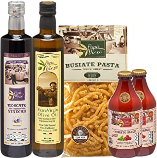 Papa Vince Italian Gourmet Gift Basket made in Italy from fresh ingredients grown in Sicily. Low Glycemic Pasta, Low Acid ...