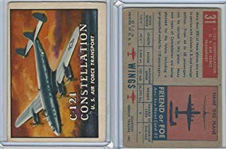 1952 Topps, Wings, 31 C-121 Constellation, US Airforce Airplane