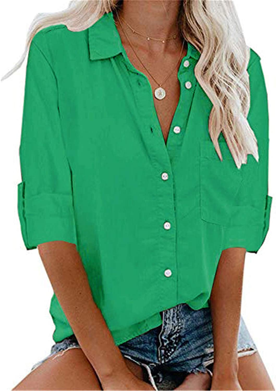 Andongnywell Women's Short Sleeve V Neck Blouse Super popular specialty store Do Button Max 76% OFF