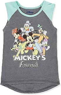 Disney Girls Mickey Mouse & Friends Sleeveless T-Shirt Tank Top (Grey, Small 6)