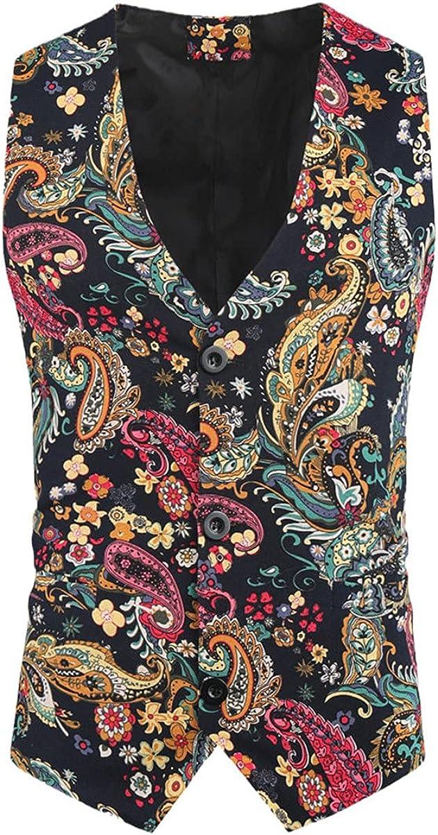 Men's Suit Wedding Sleeveless Slim Paisley Floral Dress Men's Single Button Vest Vest