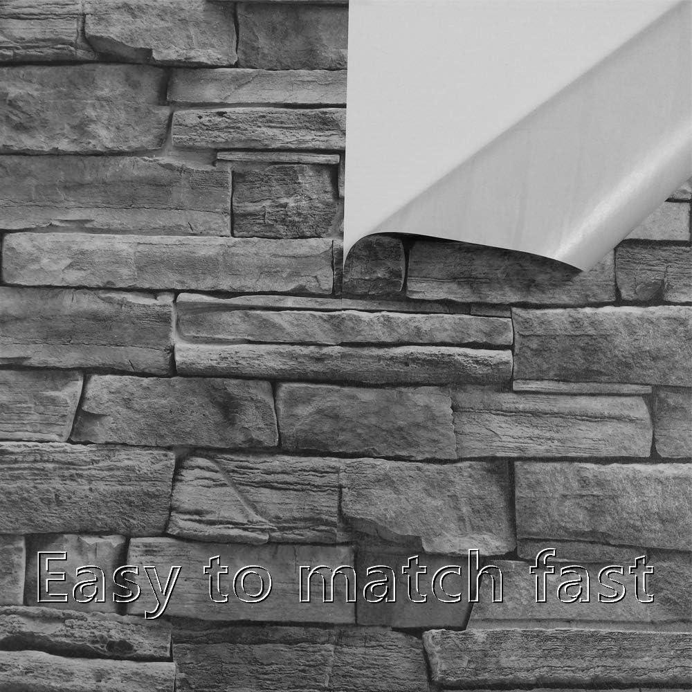 Buy 3d Gray Stone Wallpaper Roll Peel And Stick Backsplash Brick Wallpaper Slef Adhesive Removable Wallpaper Kitchen Backsplash Waterproof Contact Paper Txtured Vinyl Film Roll118x17 7 Online In Indonesia B08cmwfm2c