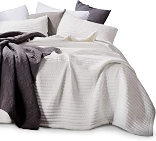 KASENTEX Quilt-Bedding-Coverlet-Blanket-Set, Machine Washable, Ultra Soft, Lightweight, Stone-Washed, Detailed Stitching - Hypoallergenic - Solid Color (Ivory, Oversized Queen + 2 Shams)