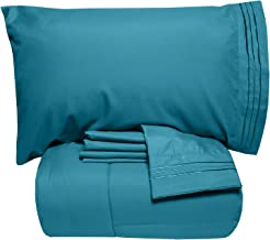 Sweet Home Collection Luxury 5 Piece Bed-In-A-Bag Solid Color Comforter and Sheet Set King Green 5PC-CMF-SHT-TL-KNG
