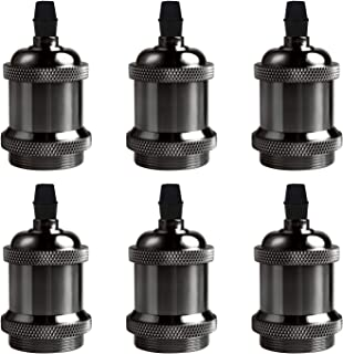 DiCUNO Vintage E26 Lamp Socket, Edison Retro Pendant Lamp Holder, Industrial and Decorative for DIY Lighting, 600℃ Heat Resistant 6 Packages (Color: Pearl Black)
