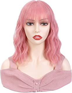 Alicoco Pink Wigs for Women Short Wavy Wig with Bangs Party Wig Synthetic Curly Bob Wigs Cosplay Use Light Wig 12inches…