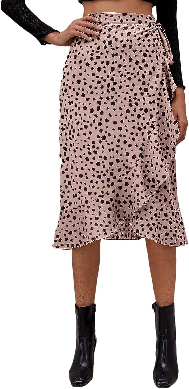 Milumia Women's Asymmetrical Ruffle Hem Wrap Skirt Dalmatian Print Knotted Midi Skirt