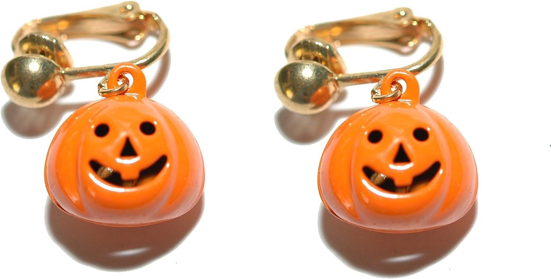 Bright Orange Pumpkin Jingle Bell Halloween Clip On Dangle Earri