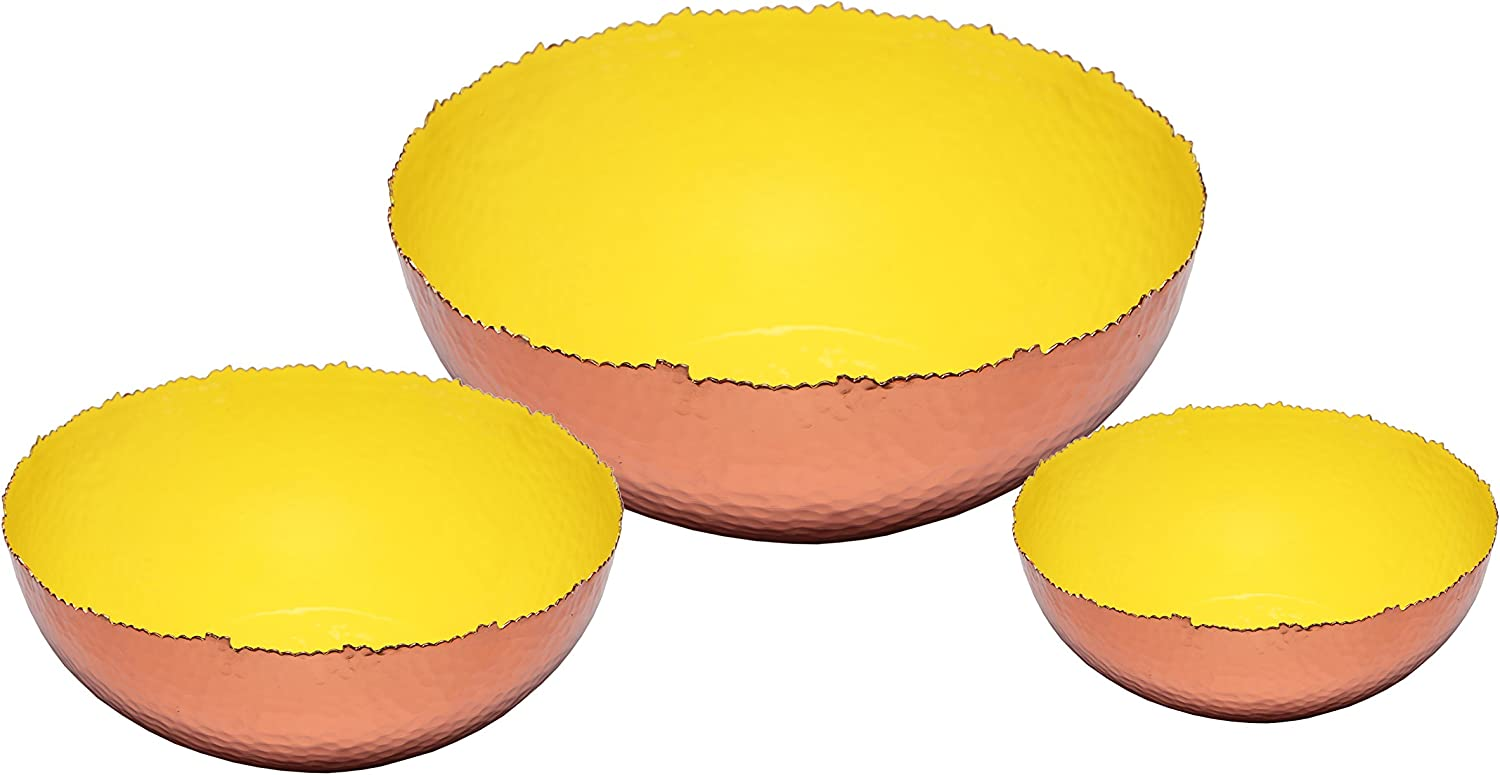 Melange Home Decor Copper Collection Set Of 3 Bowls 6 9 And 12 Color Lime Green Kitchen Dining