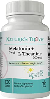 Melatonin 3mg + L Theanine 200mg – Sleep Aid Supplement – Promotes Deep Sleep – Promotes Stress Control and Relaxation – 1...