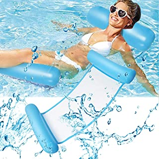 Hammock Inflatable Pool Float, 4-in-1 Multi-Purpose Pool Hammock Pool Chair (Saddle, Lounge Chair, Hammock, Drifter) for A...