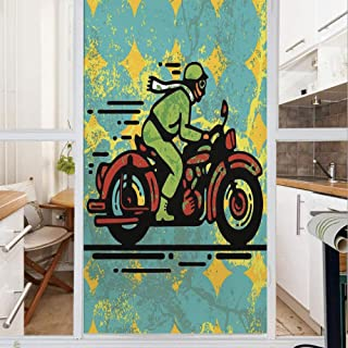 Decorative Window Film,No Glue Frosted Privacy Film,Stained Glass Door Film,A Young Man Vintage Motorbike Grunge Distressed Dirty Featured Funky Art Illustration,for Home & Office,23.6In. by 35.4In Mu