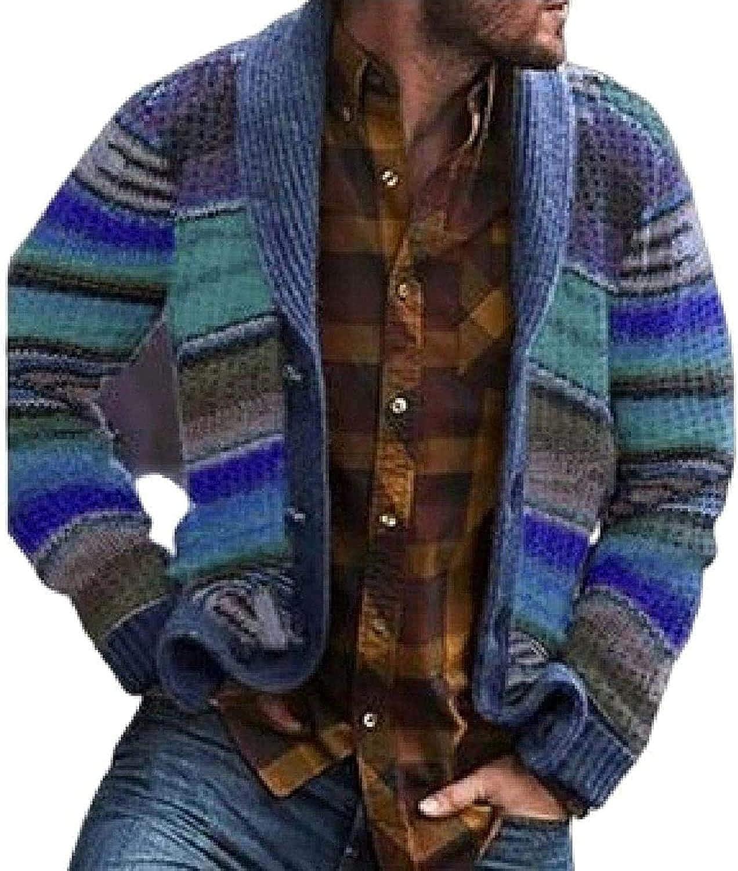Agoodic Men Basic Color Block Knitwear Slim Striped Button Up Cardigan Sweater