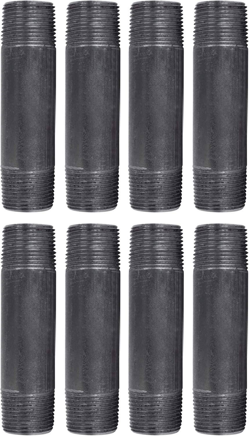 """Pipe Decor 3/4"""" x 4"""" Malleable Cast Iron Pipe, Pre Cut, Industrial Steel Grey Fits Standard Three Quarter Inch Black Threaded Pipes Nipples and Fittings, Build Vintage DIY Furniture, 8 Pack : Industrial & Scientific"""
