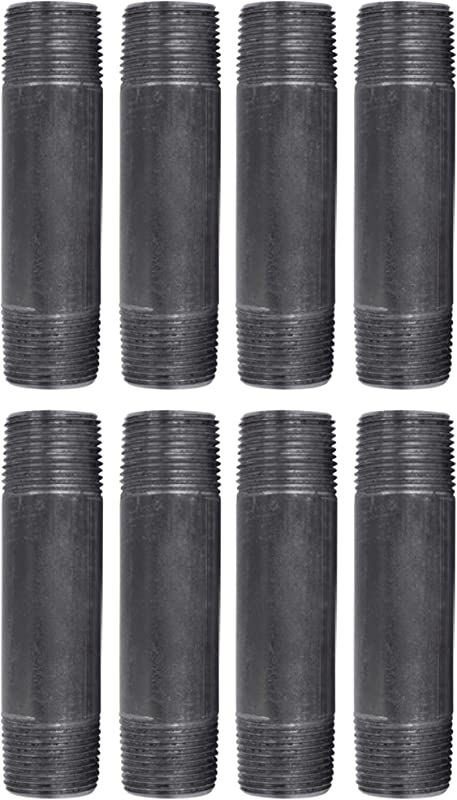 Pipe Decor 3 4 X 4 Malleable Cast Iron Pipe Pre Cut Industrial Steel Grey Fits Standard Three Quarter Inch Black Threaded Pipes Nipples And Fittings Build Vintage DIY Furniture 8 Pack
