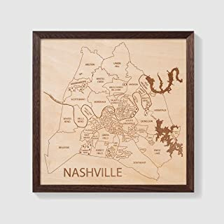 Etched Atlas Nashville, Tennessee - Wall Map (12