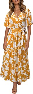 Sexy Dresses with Slit and Bow with Floral Print Elegant Women's Short Sleeve Bohemian Long Beach Summer Dress Evening Par...