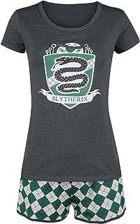 HARRY POTTER Slytherin Quidditch Mujer Pijama Verde-Gris, elastischer Bund, Tunnelzug