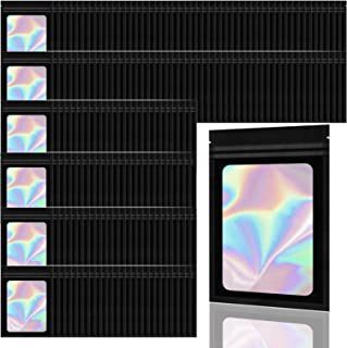 Allstarry 200 Pieces Holographic Foil Pouch Bags Resealable Smell Proof Zip Lock Sealing Aluminum Bag for Lipstick Jewelry...