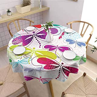 DILITECK Dragonfly Polyester Round Tablecloth Modern Dragonfly and Floral Pattern Hydrangea Petals Like Fireworks Colorful Art Wrinkle Free Tablecloth D70 Multicolor