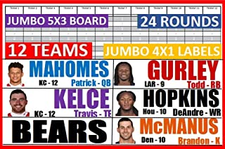 2019 Fantasy Football Draft Kit JUMBO 5 X 3 Board 4 X 1 Full Color Labels w/ Rookies