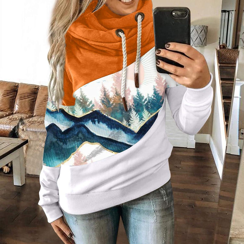FantaisieZ Damen Herbst Winter Hoodie Outwear Kapuzenpullover Frauen Warm Elegante Hooded Sweatshirt mit Kapuze Mantel Jacke Tops Outwear Hoodie mit Kordel und Taschen Orange-3