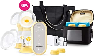 Medela Freestyle Flex Breast Pump, Closed System Quiet Handheld Portable Double Electric Breastpump, Mobile Connected Smart Pump with Touch Screen LED Display and USB Rechargeable Battery