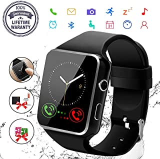 Smart Watch,Bluetooth Smartwatch Touch Screen Wrist Watch with Camera/SIM Card Slot,Waterproof Phone Smart Watch for Men Women Sports Fitness Tracker Compatible Android Phones Samsung Huawei (Black)