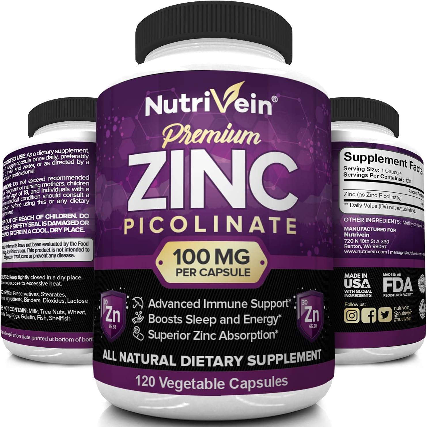 Nutrivein Premium Zinc Picolinate 100mg - 120 Capsules - Immunity Defense Boosts Immune System & Cellular Regeneration - Maximum Strength Bioavailable Supplement - Essential Elements for Absorption: Health & Personal Care