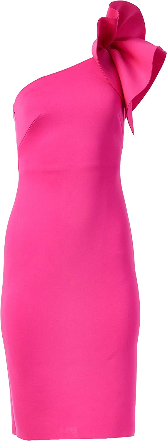 1980s Clothing, Fashion | 80s Style Clothes Eliza J Womens One Shoulder Scuba Cocktail Dress with Ruffle Sleeve $169.47 AT vintagedancer.com