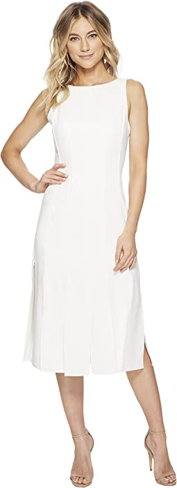 Halston Heritage - Sleeveless Boat Neck Strips Dress