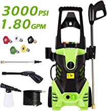 Homdox High Pressure Power Washer 3000 PSI Electric Pressure Washer,1800W Rolling Wheels High Pressure Professional Washer Cleaner Machine+ (5) Nozzle Adapter
