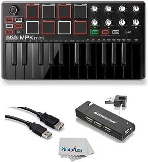 Akai Professional MPK MINI MK2 MKII   25-Key Ultra-Portable USB MIDI Drum Pad & Keyboard Controller (Black) + 4-Port USB 2.0 Hub + High Speed USB Extension Cable + Clean Cloth