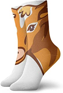 Bright Brown Smiling Cow Mens Athletic Crew Socks Basketball Cushioned Sport Long Compression Socks