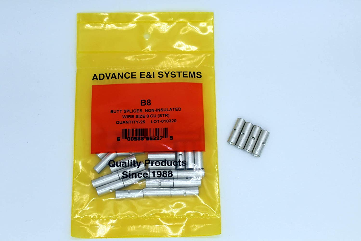 Spasm price 8 Lowest price challenge AWG Non-Insulated Seamless Butt 25 Splice Pack Connectors