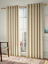 Curtain Label Set of 2- Curtain Label Elite Jacquard Eyelet Pleat Curtain (Cream, 4.5 X 5 feet (W X H))