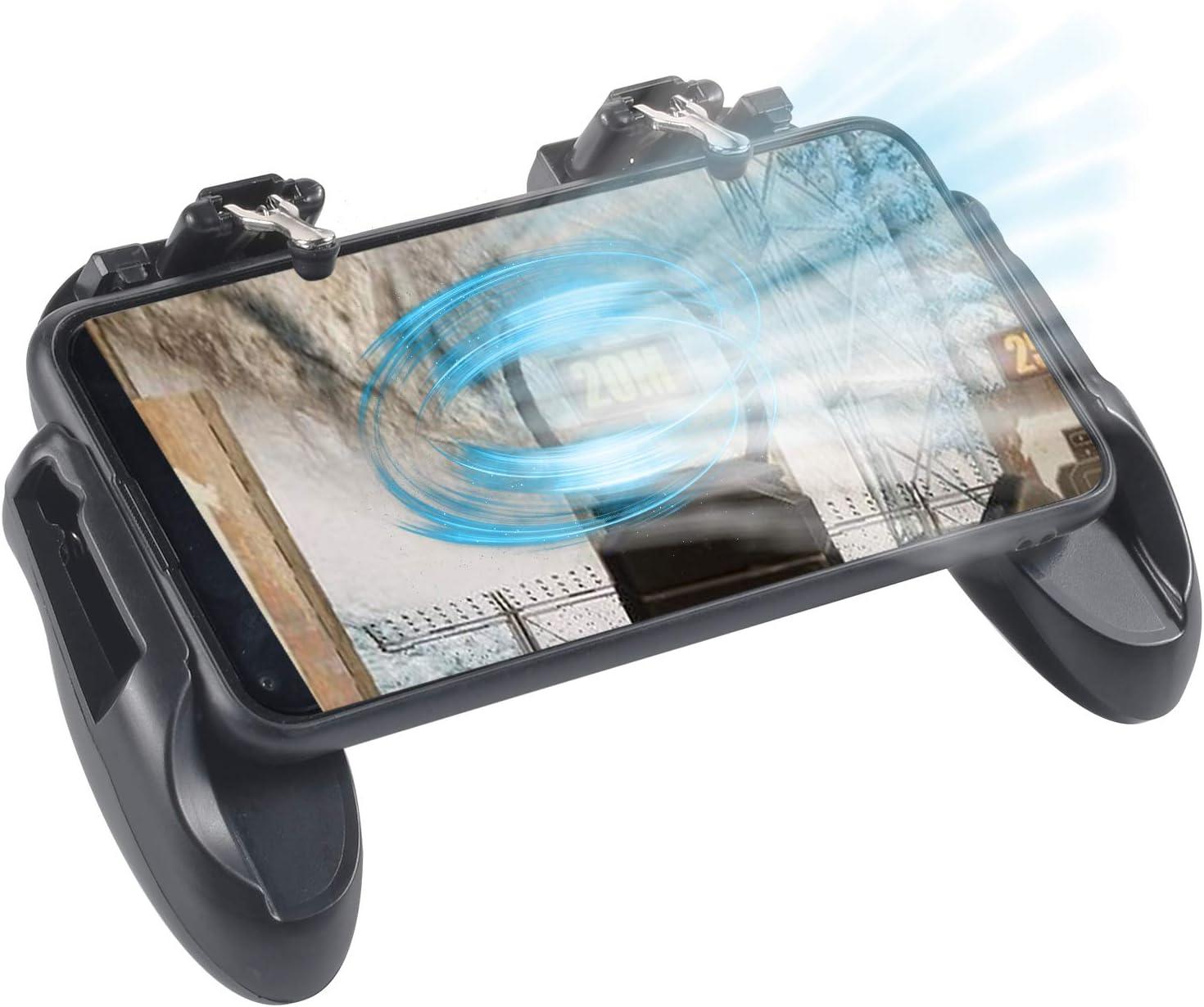 FGen Gamepad Android, Mando Para Movil, Mandos Para Movil, Disparador de 4.7 a 6.5 Pulgadas de Teléfonos Móviles con Ventilador de Enfriamiento, Mango de Metal