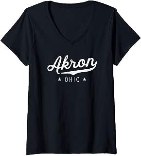 Womens Classic Vintage Retro Akron USA Gift Throwback Novelty V-Neck T-Shirt