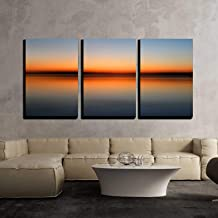 wall26 - 3 Piece Canvas Wall Art - Abstract Colorful Motion Blurred Sunset on Sea - Modern Home Decor Stretched and Framed Ready to Hang - 16