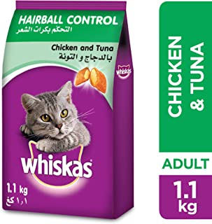 Whiskas Hairball Control with Chicken & Tuna, Dry Food Adult, 1+ Years, 1.1kg