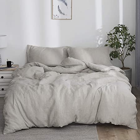 Simple&Opulence 100% Linen Duvet Cover Set with Washed-French Flax-3 Pieces Solid Color Basic Style Bedding Set-Breathable Soft Comforter Cover with 2 Pillowshams(King,Linen)