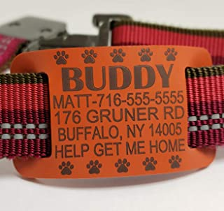 Silent Slide On Collar Tags - Premium Pet IDs - Safe Silicone Rubber - Custom Engraved, Waterproof for Dogs and Cats - 5 Lines of Personalized Text
