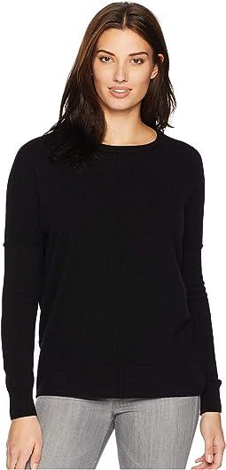 Cashmere Crew Neck Sweater with Raised Seam Detail