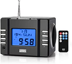 August MB300 Mini Wooden MP3 Stereo System and FM Clock Radio, with Card Reader, USB Port & AUX Jack (3.5mm Audio in), 2 x...