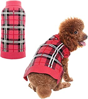 PUPTECK Classic Plaid Style Dog Sweater - Puppy Festive Winter Clothes
