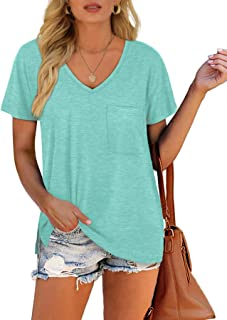 Women's V Neck Short Sleeve T-Shirts Side Split Pocket...