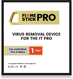 FixMeStick PRO Virus Removal for Business - Unlimited Use on Unlimited Laptops and Desktops (PCs and Macs) for 1 Year - Works with Your Antivirus