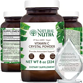 Natural Nutra Pure Vitamin C Crystal Powder from Ascorbic Acid, Non GMO, Potent and Premium Grade, Vegan and Vegetarian, H...