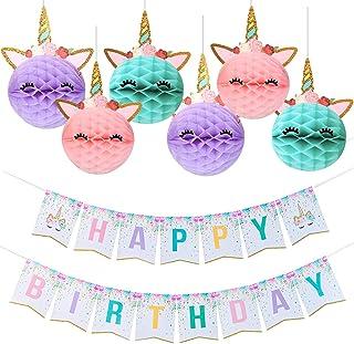 Unicorn Party Decoration, Unicorn Happy Birthday Banner with Honeycomb Balls for Girls Birthday Party Supplies -Golden Glitter Design